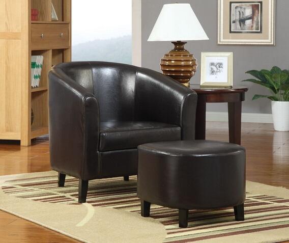 2 pc brown leather like vinyl upholstered barrel shaped accent side chair and ottoman