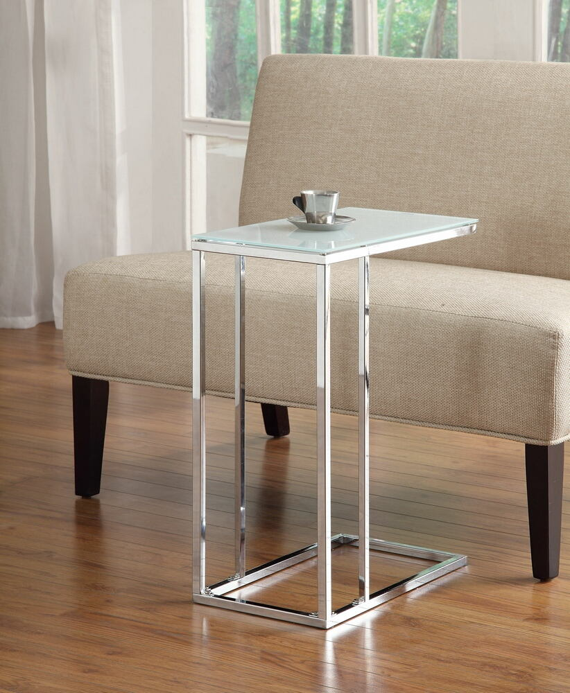 900250 Chrome finish metal snack chair side end table with frosted glass top