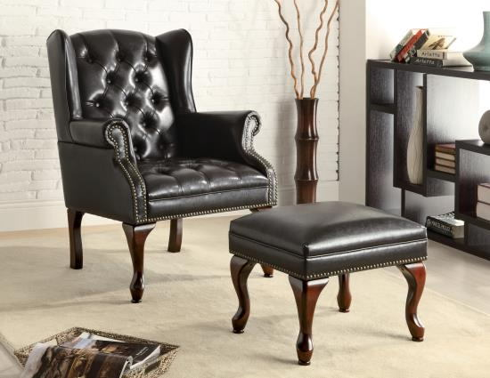 Black bycast leather like vinyl wing back tufted chair and ottoman