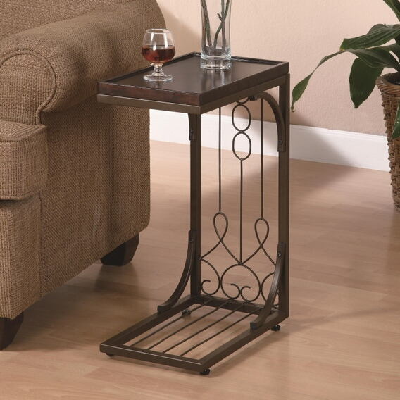 Cherry finish wood top and metal frame slide under sofa chair side table