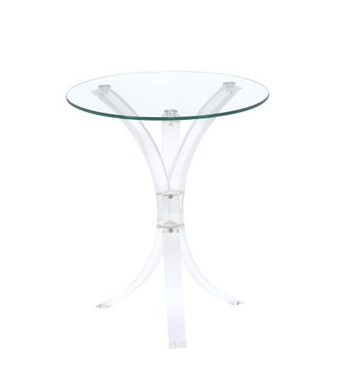 Sky collection clear round glass top and acrylic legs side accent table