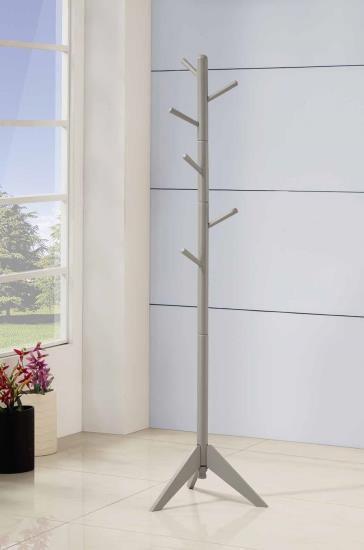 Grey finish wood 6 peg modern slim coat rack