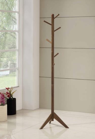 900633 Mid century modern brown finish wood 6 peg modern slim coat rack