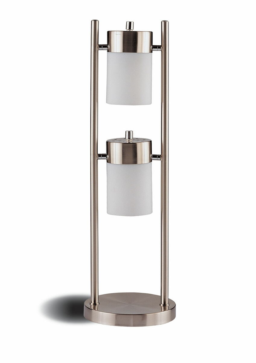 900732 Casual style chrome finish metal swivel table lamp with frosted shades