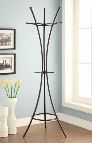 Black finish metal frame 3 leg curved multi hook coat rack