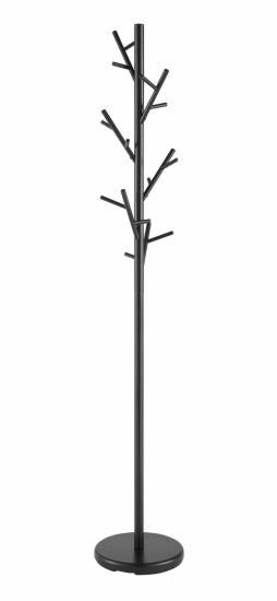 Black metal frame and black base coat rack stand randomized hooks