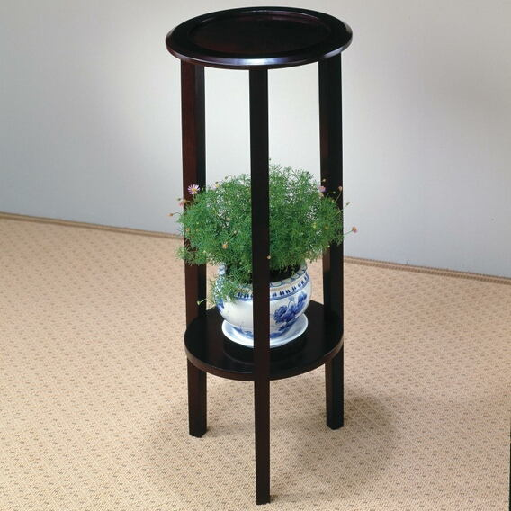 900936 Wildon home kirkland espresso finish wood round plant stand