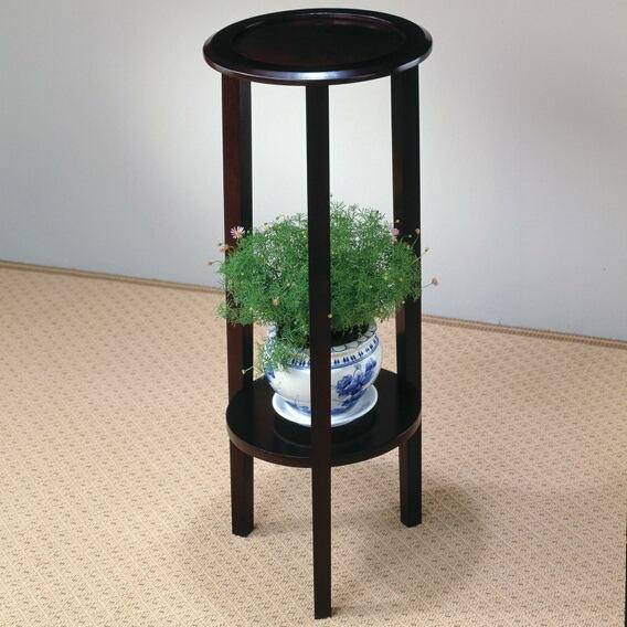 Espresso finish wood round plant stand