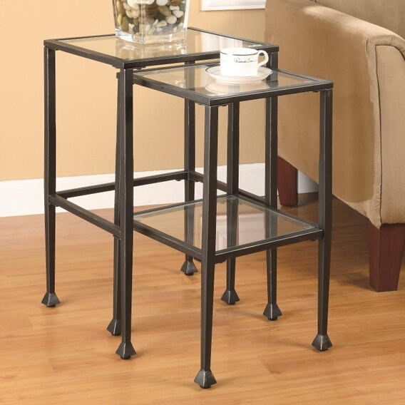 2 pc black metal finish nesting side tables with glass tops