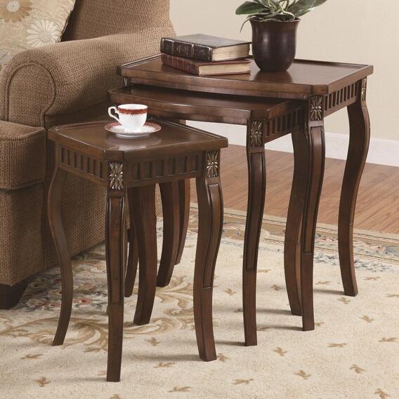 3 pc cherry finish wood nesting table set