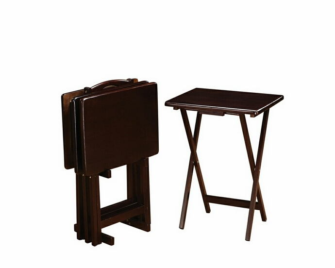 901081 5 Pc Espresso Finish Solid Wood Tv Tray Table Set With Stand