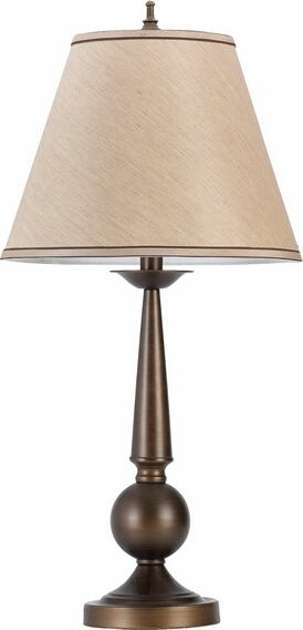 901254 Set of 2 bronze finish metal ball and cone shaped table lamp with beige fabric shade