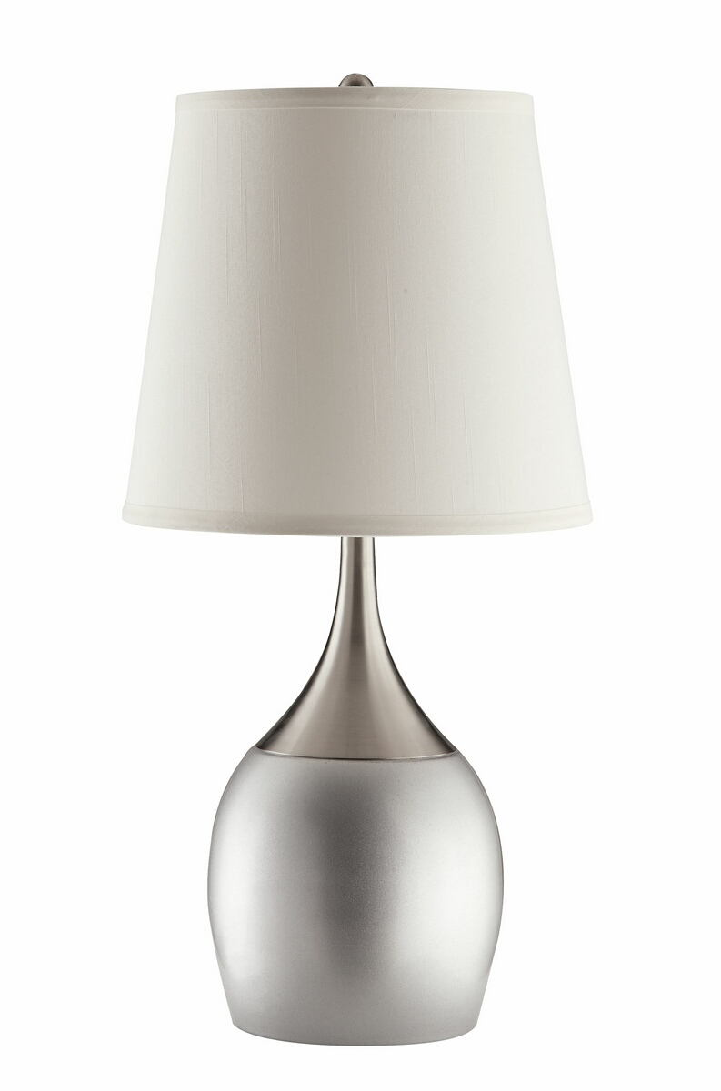 Set of 2 contemporary style silver and chrome finsh base table lamp with long fabric shade