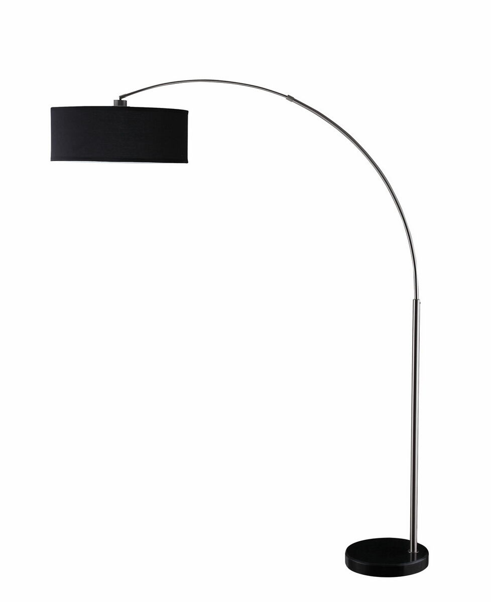 Black and chrome finish contemporary style overhead floor lamp