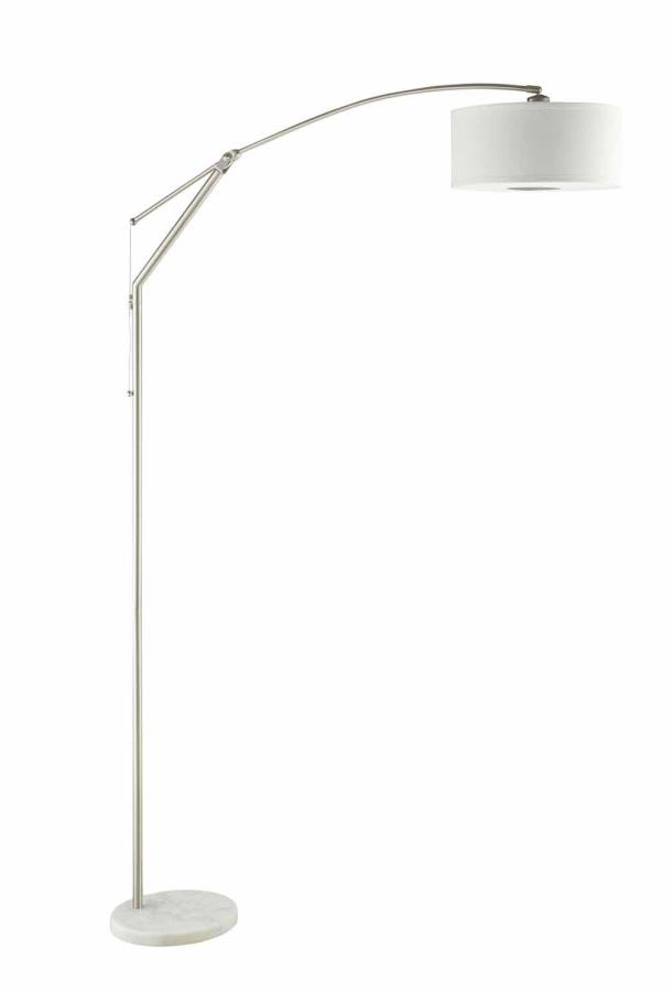 901490 Chrome finish metal suspended arched floor lamp with white pendant shade