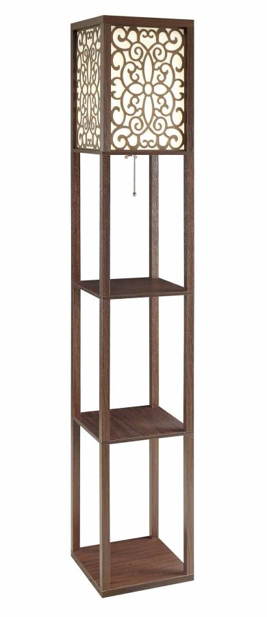 901568 Espresso finish wood three tiered carved shade accents floor lamp with shelves