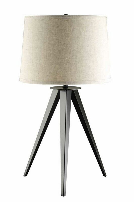 901644 Mid Century modern tripod base table lamp with light grey drum shade