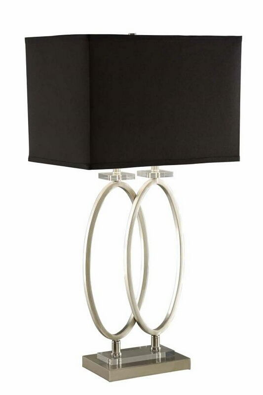 901662 Dual ovals brushed nickel finish table lamp with black rectangular shade