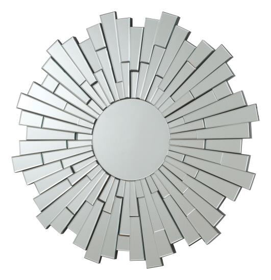Circular star / sun multi piece frameless decorative wall mirror