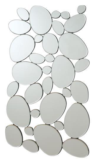 Interlocking circular ovals shapes design frameless decorative wall mirror.