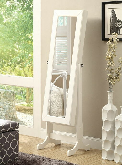 White finish wood casual style free standing cheval dressing mirror with jewelry armoire cabinet behind the mirror