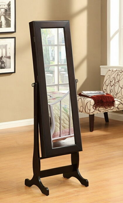 Espresso finish wood casual style free standing cheval dressing mirror with jewelry armoire cabinet behind the mirror