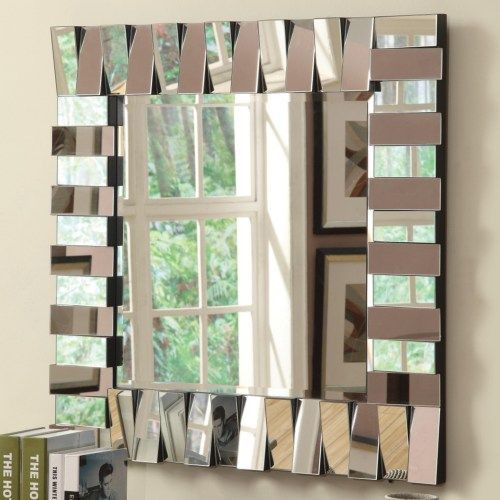 901806 Zig zag multi level rectangles design square frameless decorative wall mirror