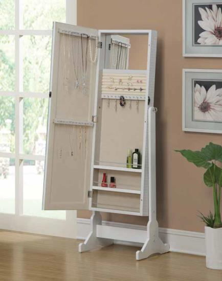 901827 White finish wood free standing cheval mirror with built in jewelry cabinet