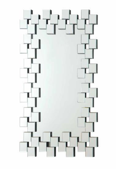 901838 Multi Squares Outer Edge Framed Rectangular Design Frameless Decorative Wall Mirror