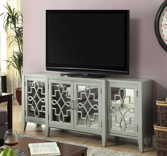 Kacia collection antique gray finish wood and mirrored front 4 door hall console table
