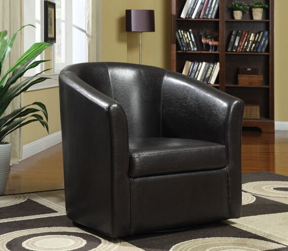 Dark brown leather like vinyl upholstered barrel shaped accent side chair with swivel base
