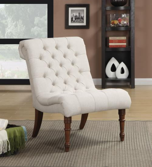 Chelsea ii collection oatmeal linen like fabric upholstered accent chair with wood legs