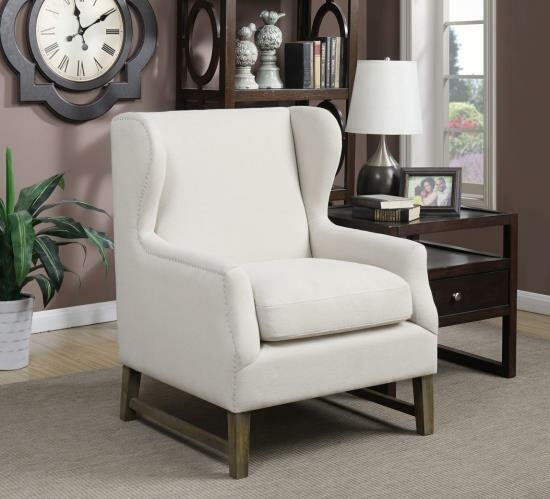 Grand wing back collection oatmeal colored linen like fabric upholstered chair