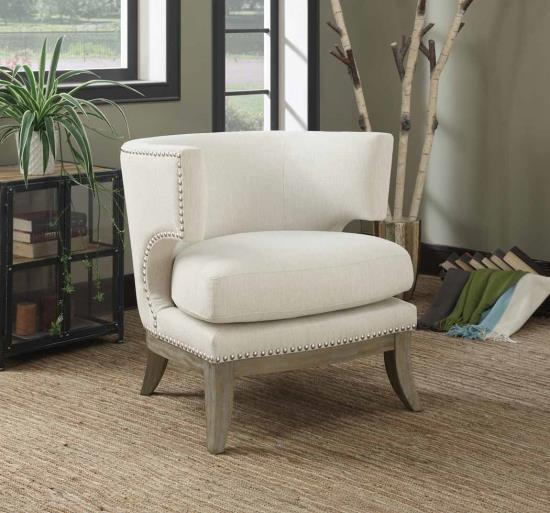 902559 Cloister collection white chenille fabric upholstered barreled back accent chair with wood legs
