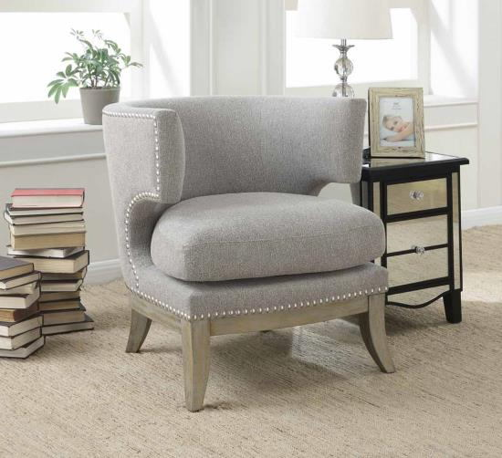 Cloister collection grey chenille fabric upholstered barreled back accent chair with wood legs