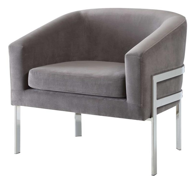 902563 Everly quinn cheri grey linen like fabric chrome metal finish frame retro style barrel back chair