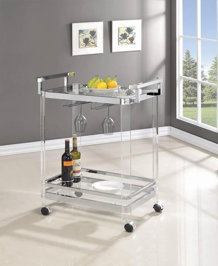 902589 Clear acrylic and chrome tea serving cart with casters