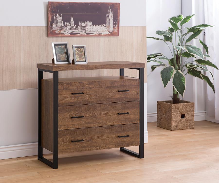 902762 Brayden studio granton rustic amber finish wood black metal 3 drawer cabinet console