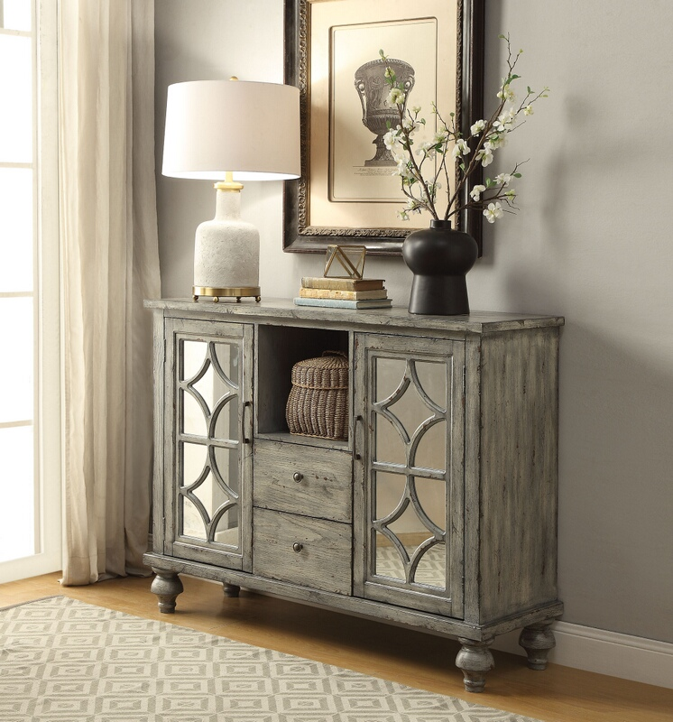 Acme 90282 Velika weathered gray finish wood mirror fronts hall console table