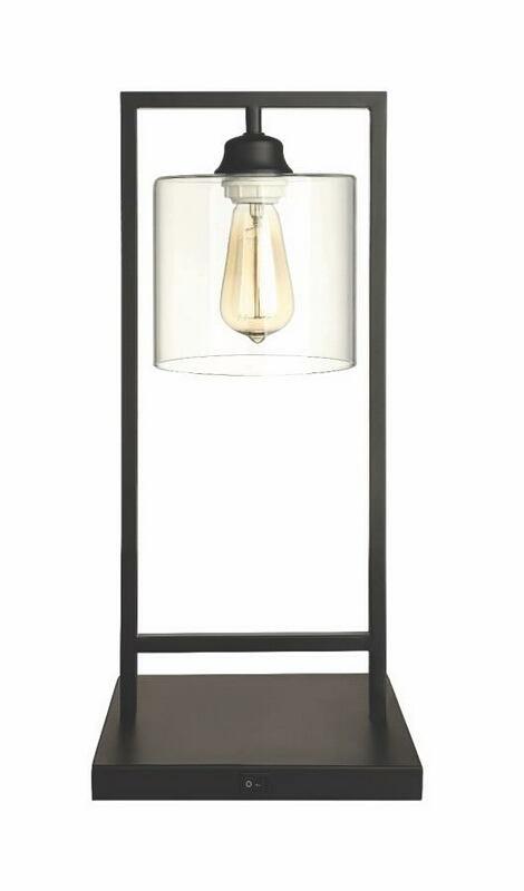 902964 Large single industrial edison light black metal finish base table lamp