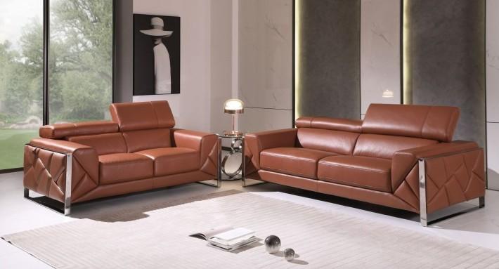 903CM-2PC 2 pc Orren ellis luigi camel italian leather sofa and love seat set