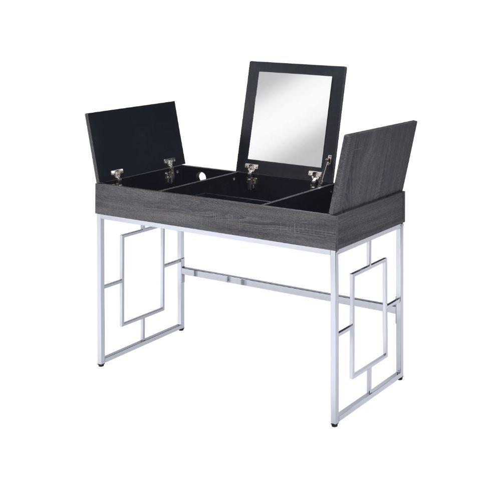 Acme 90317 Mercer 41 ballesteros saffron rustic black oak finish wood and silver frame vanity flip up mirror desk