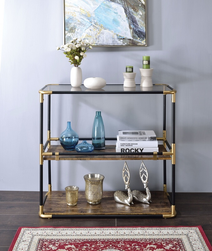 Acme 90319 Mercer 41 hymes heleris black and gold finish metal frame glass sofa console entry table