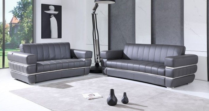 904GY-2PC 2 pc Orren ellis monza gray italian leather sofa and love seat set