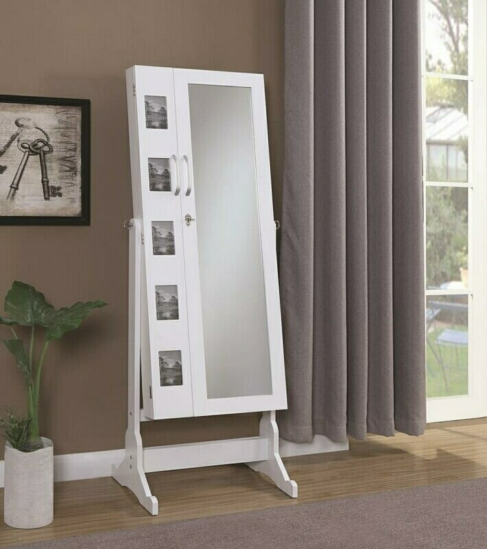 904031 White finish wood free standing cheval floor mirror jewelry armoire cabinet