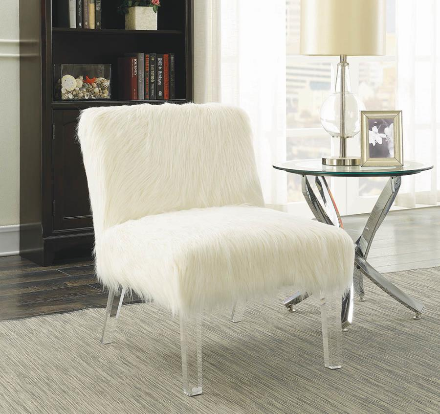 904059 Mercer 41 branch white faux sheep fabric clear acrylic legs accent chair