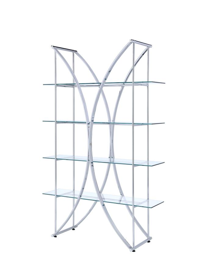 910050 Chrome metal finish x design shelf unit with glass shelves