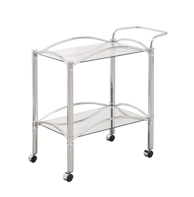 910077 Chrome small rectangular frame and tempered glass shelves tea serving cart with casters