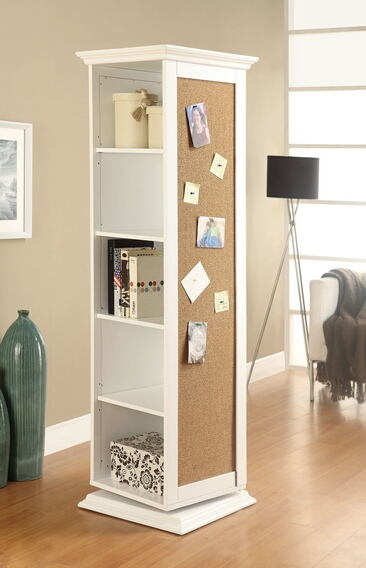 White finish wood rotating storage cabinet with large cork board and dressing mirror with open shelves
