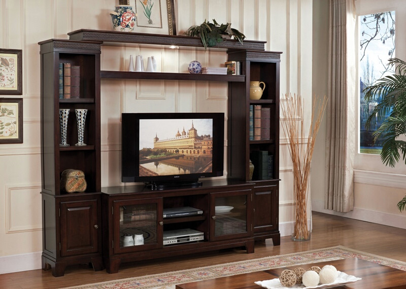 Acme 91090-93 4 pc keenan walnut finish wood slim profile entertainment center wall unit